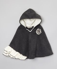 Look at this Million Polkadots Charcoal & Ivory Hooded Poncho - Infant, Toddler & Girls on #zulily today!