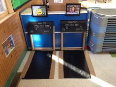 Treadmills for healthy bodies week in dramatic play! Contact paper, cardboard, cardboard tubes.