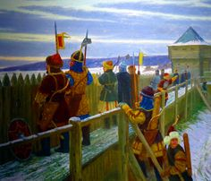 Warriors of the Golden Horde defending a fort in Russia Golden Horde, Military Costumes, Medieval Armor, Fortification, Illustrations, 14th Century, Middle Ages, Owls, Knight