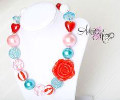 Valentine Children's Necklace, Kids Necklace, Chunky Necklace, Chunky Bead Necklace, Child Girls Necklace. $22.00, via Etsy.