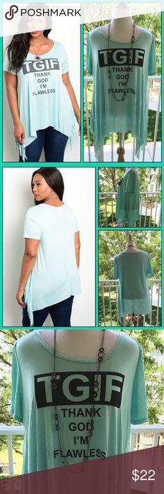 Selling this 🆕Aqua TGIF on Poshmark! My username is: lisa1203. #shopmycloset #poshmark #fashion #shopping #style #forsale #LDB #Tops