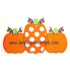 Applique Market has a wonderful selection for all of your seasonal custom design needs. The fall is a great time of year for customized clothing with our pumpkin trio Applique design.