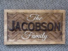 Personalized Chevron Family Name Signs custom wedding gift CARVED Wooden Last name Wedding Established Anniversary custom shevron Sign