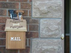 Cedar Mailbox with a Personal Touch. Homeowners Dogs painted on the back panel. www.followthegrai...