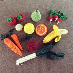 Hæklet frugt og grønt til legekøkkenet