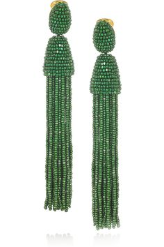 Oscar de la Renta | Beaded tassel clip earrings | NET-A-PORTER.COM
