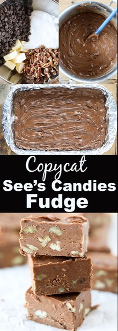 This Copycat Sees Fudge is so delicious and extremely easy to make. Sees Candies is definitely a Christmas favorite around our house and everyone loves their fudge! This recipe makes an entire 913 pan of delicious fudge so its perfect for gift giving. Christmas Desserts, Christmas Treats, Christmas Candy, Xmas, Holiday Candy, Christmas Fudge, Christmas Cookies, Holiday Baking, Christmas Baking