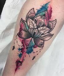 Mandala Watercolor Tattoo Watercolor Lotus Geometric Watercolor Tattoo Floral Watercolor Tattoo