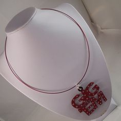 Maroon Polka Dot Gig 'Em Wire Necklace by ScarletRoot on Etsy, $20.00
