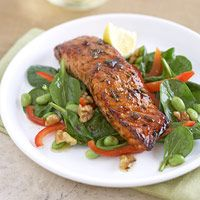Maple Salmon with Greens. 460 calories, 33g protein, 18g carbohydrate, 28 g fat (5g saturated), 3g fiber