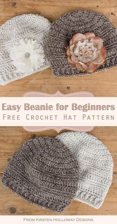 Free, Easy Crochet Beanie Hat Pattern for Beginners – Kirsten Holloway Designs – Knitting For Beginners Crochet Beanie Hat Free Pattern, Easy Crochet Hat Patterns, Crochet Cap, Crochet Stitches, Double Crochet, Simple Crochet, Easy Crochet Baby Hat, Crochet Hats For Babies, Crochet Designs