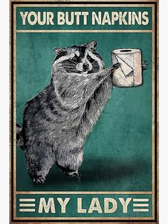 Funny Cute, Hilarious, Wal Art, Racoon, Art Mural, Poster Wall, Home Art, Funny Animals, Illustration