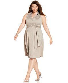 Alfani Plus Size Dress, Sleeveless Embellished Shirtdress - Plus Size Dresses - Plus Sizes - Macy's