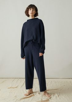 Our Recycled Cashmere Trousers are very sumptuous. They have a drawstring waist and are easy and slouchy. Striped Linen, Crinkles, Cashmere Sweaters, Cotton Dresses, Lounge Wear, Trousers, Normcore, Jumpsuit, Womens Fashion