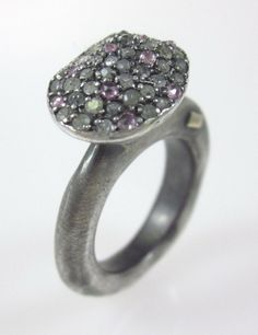 ROSA MARIA Sterling Silver Diamond Encrusted Oval Marina Ring Sz 6.5 at www.ShopLindasStuff.com
