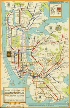 1948 LARGE NEW YORK CITY SUBWAY MAP MTA MANHATTAN BROOKLYN ART DECO VINTAGE