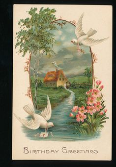 ~Beautiful  Birds with Country House & Flowers~ Emboss~ Greeting Postcard-ggg166