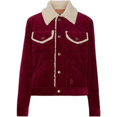 Marc Jacobs Faux shearling-lined corduroy jacket (7.936.710 IDR) ❤ liked on Polyvore featuring outerwear, jackets, marc jacobs, burgundy, collar jacket, corduroy jacket, cordoroy jacket and purple jacket
