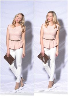 white jeans, pink peplum top