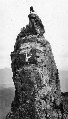 Climbing the Inaccessible Pinnacle, 1920s, Skye