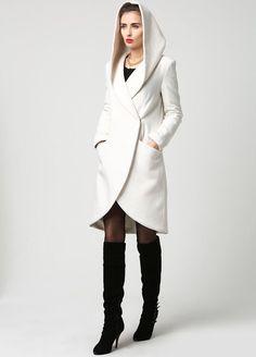 Capa blanca capa con capucha abrigo abrigo mujer por xiaolizi