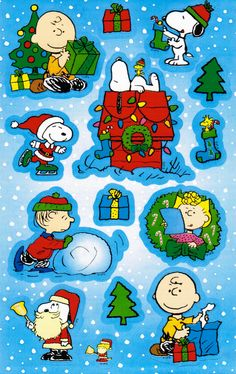 Charlie Brown and Snoopy  Christmas Sticker Sheet.