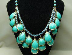 light blue bubble necklacebeadwork necklacebib by Arkpearl on Etsy, $16.00