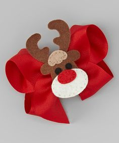 Loving this Red Reindeer Appliqué Bow on #zulily! #zulilyfinds