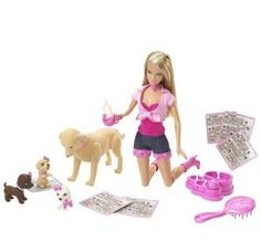 BARBIE Taffy & Puppies by Mattel. $39.50. Includes Barbie and fuzzy Taffy with three puppies. Girls can also choose Tanner dog. Lots of pieces for playtime. Great for all girls. Many treats, toys, and clean-up accessories to play with. From the Manufacturer                Double the fun with Barbie doll and her best friends Taffy or Tanner dogs, in two playsets! Girls can choose fuzzy Taffy dog with three puppies, or Tanner dog with treats, toys and clean-up accessories...