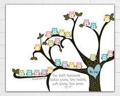 Teacher Tree with Owls 8x10 print appreciation by JustArtinAround