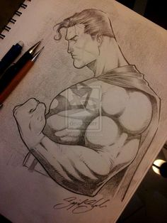 Easy Draw : superman pencil comission by on DeviantArt - Art & Drawing Community : Explore & Discover the best and the most inspiring Art & Drawings ideas & trends from all around the world Drawing Cartoon Characters, Character Drawing, Cartoon Drawings, Drawing Sketches, Art Drawings, Character Design, Comic Book Drawing, Comic Books Art, Comic Art