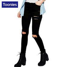 2017 Nova Moda Magro Preto de Cintura Alta calças de Brim Wowan Plus tamanho XXL Buraco Jeans Rasgado Para As Mulheres Denim Calças de Jeans Femme(China (Mainland))