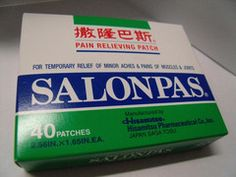 Salonpas Plaster | Best Chinese Medicines. This is one of the most famous pain relief plasters. Use it for backaches, muscle pains, and arthritic pain anywhere on the body. Helps ease pain and relax muscles   Fast, effective, powerful relief for stiffness and tightness of neck and or shoulders due to long periods of sitting at a desk, driving, reading, etc.