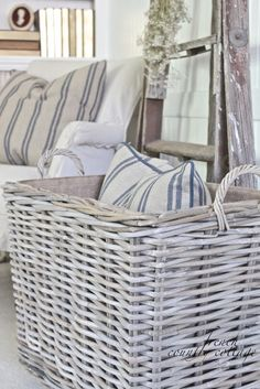 FRENCH COUNTRY COTTAGE: Chunky Baskets French Stripe Pillows