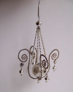 Antique Bohemian Glass Beaded Wrapped Wire Chandelier Christmas Ornament | eBay