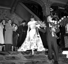 Audrey Hepburn and Mel Ferrer attend the Netherlands' premiere of Sabrina, November 1954.