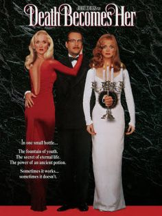 "Death Becomes Her..Loved this comedy! (1992) Goldie Hawn and Meryl Streep run wild in this black comedy that mixes rapier wit with cutting-edge special effects. Insufferably vain, the two ""frenemies"" discover the secret of eternal youth -- and find that it has a few unadvertised drawbacks. Meryl Streep, Bruce Willis, Goldie Hawn...5a"