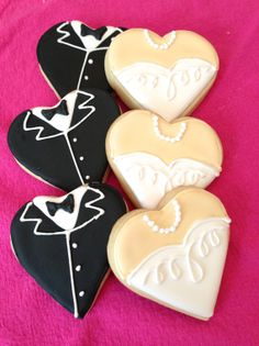Wedding Cookie FavorsTuxedo and Gown HeartsOne by MrsCookieBakes, $30.00