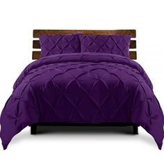 🛍LAY DOWN FOR LESS At #MATTRESSOFFERS - FOR YOUR BEAUTIFUL HOUSE🛍  Giselle Luxury Classic Bed Duvet Doona Quilt Cover Set Hotel Super King Purple   Add a touch of chic to your bedroom with our delightful Giselle Bedding Diamond Pintuck Quilt Cover Set.  #Quiltcoverset #shophumm Hotel King, King Size Quilt Covers, Quilt Cover Sets, Queen Quilt, King Quilts, Striped Quilt, Duvet Bedding, King Beds, Bedroom Decor