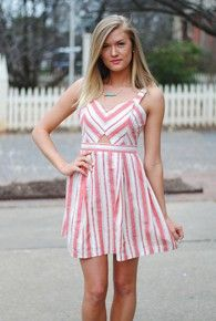 womens coral stripe keyhole dress