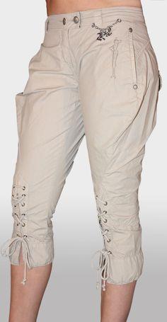 Pantalone Donna Pinocchietto 3/4 Cotone elasticizzato Beige Tg. 27