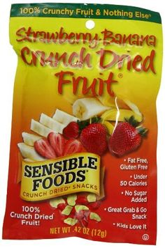 Sensible Foods Strawberry-Banana Crunch Dried Fruit Snacks, Lunch box size, 0.42-Ounce (Pack of 16) by Sensible Foods, http://www.amazon.com/dp/B004BRH344/ref=cm_sw_r_pi_dp_vZpKrb1VCXKMJ