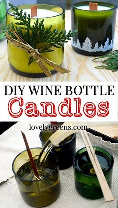 How to make Wine Bottle Candles Diy Candles To Sell, Homemade Candles, Wine Bottle Candles, Recycled Wine Bottles, Diy Wine Bottle, Wine Bottle Glasses, Jar Candles, Bottle Lights, Recycled Glass