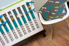 Crib Bedding, Baby Bedding, Turquoise and Lime Transportation Car Truck Airplane Boy Nursery by modifiedtot on Etsy https://www.etsy.com/listing/170405891/crib-bedding-baby-bedding-turquoise-and