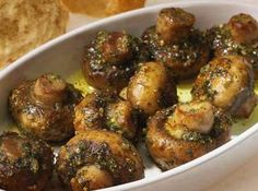 ROASTED GARLIC MUSHROOMS (Use gf breadcrumbs. Substitute olive oil to make corn and soy free.)