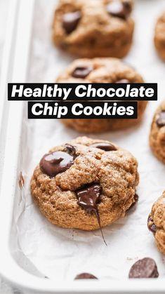 Sea Food Salad Recipes, Healthy Cookie Recipes, Healthy Cookies, Healthy Desserts, Just Desserts, Dessert Recipes, Desserts With Chocolate Chips, Healthy Chocolate Chip Cookies, Paleo Baking