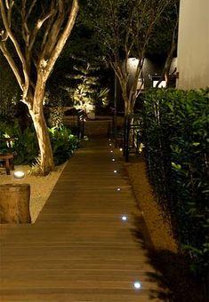 A magical nighttime entrance Garden Accent Lighting, Outdoor Garden Lighting, Plant Lighting, Exterior Lighting, Landscape Lighting, Indoor Outdoor, Dock Lighting, Pathway Lighting, Landscape Design