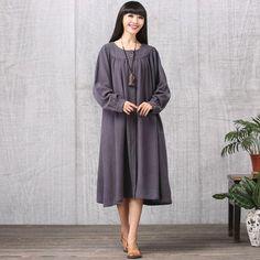 Cotton linen autumn dress