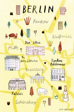 Livi Gosling - Map of Berlin for Virgin Australia's Voyeur Magazine Travel Maps, Travel Posters, Places To Travel, Buch Design, Map Design, Europa Tour, Travel Illustration, City Maps, Berlin Germany