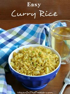 I wonder if this will make B like curry. // Easy Curry Rice is not only a delicious side dish but it can be the centerpiece for ethnic side dishes with a Middle Eastern or Asian flare // Vegan in the Freezer Rice Recipes Vegan, Vegetarian Recipes, Cooking Recipes, Healthy Recipes, Rice Dishes, Food Dishes, Indian Food Recipes, Asian Recipes, Risotto